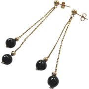 14K Gold Post Dangle Earrings Black Bead