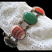 Symmetalic Sterling + 14K Scarab Bracelet Carved Gemstones