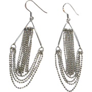 Sterling Silver 925 Long Swag Dangle Wire earrings
