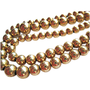 Vintage 12K Gold Filled Graduated Bead Choker Necklace