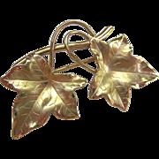 12K Gold Filled Leaf Pin Brooch Signed HSB Harry S Bick & Son - Red Tag Sale Item
