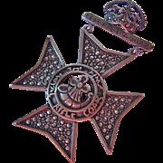 800 Silver Marcasite Kings Royal Rifle Corps Medallion Pin Badge