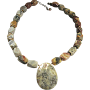 Mullti-Color Lace Agate Necklace 14-Sided Stones Egg Shape Drop