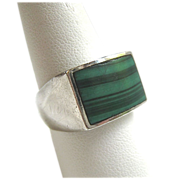 Vintage Sterling Silver 925 Malachite Gents Ring