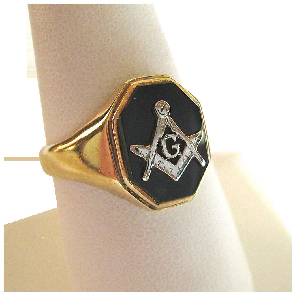 14K Gold Black Onyx Masons Masonic Ring Handsome Susabellas Ruby Lane