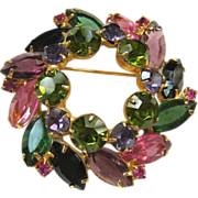 Designer Wreath Brooch Colorful Rhinestones Layered
