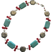 Turquoise Stone Coral & Freshwater Pearl Necklace