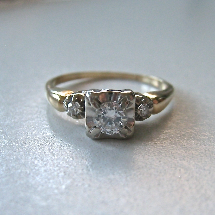 Vintage 14k Gold Diamond Engagement Promise Ring Illusion
