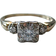 Vintage 14K Gold Diamond Engagement Promise Ring Illusion Setting
