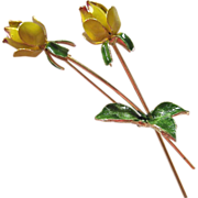 Enamel Gold Tone Yellow Roses Brooch
