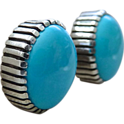 Sterling Silver 925 Turquoise Glass Cabochon Oval Post Earrings