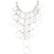 Sterling Silver 925 Runway Worthy Fringe Circle Necklace Over 134 Grams
