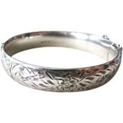 Sterling Silver 925 Hinged Bangle Bracelet Etched Design Safety Chain