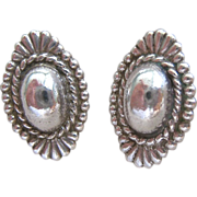Sterling Silver 925 Concho Earrings Screw Back