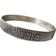 Sterling Silver 925 Bangle Bracelet Crenelated Design