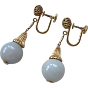 14K Gold Celadon Jade Drop Earrings Screwbacks