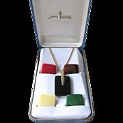 Trifari Lucite Pendant Necklace Set Interchangeable Original Box