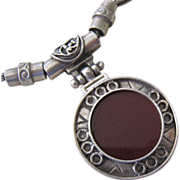 Sterling Silver 925 Carnelian Slide Pendant Necklace