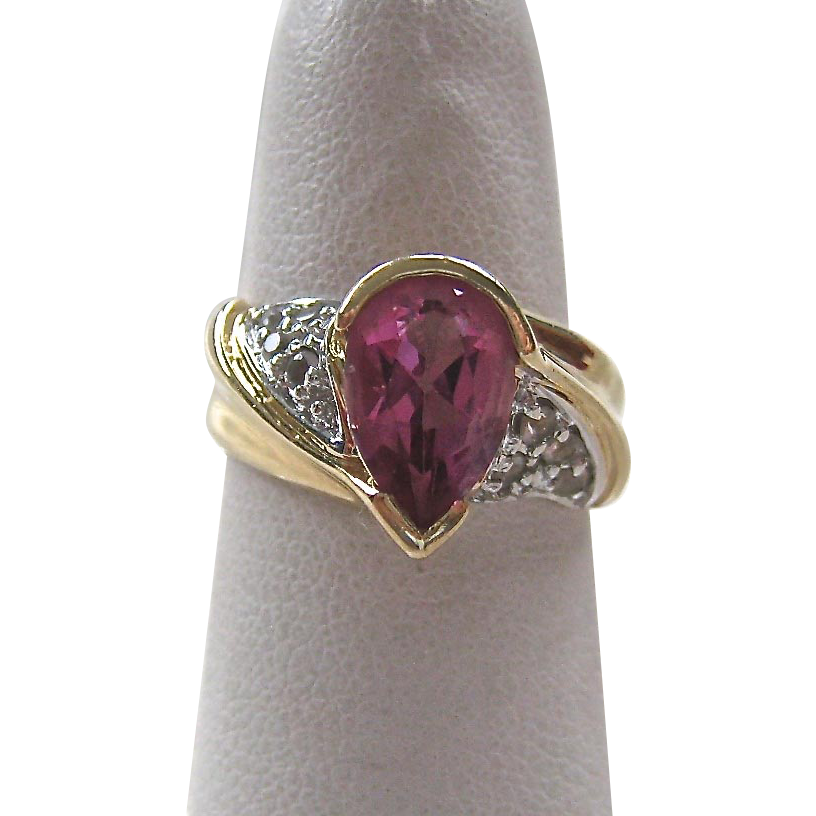 14k gold pink white topaz ring sold on ruby