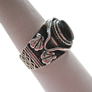 Sterling Silver 925 Black Onyx Ring Substantial