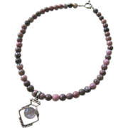 Sterling Silver 925 Rhodonite Bead Necklace