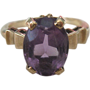 10K Gold Amethyst Ring Classic Style