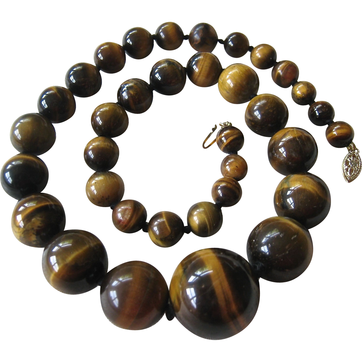 graduated tiger eye bead necklace 14k clasp knotted