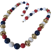 Miriam Haskell Red White Blue Gold Tone Bead Necklace 36 Inches Chunky Patriotic