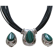 Sterling Silver 925 Malachite Demi Necklace Earrings