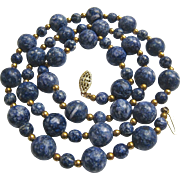 Sodalite Bead Necklace Gold Filled Filigree Clasp
