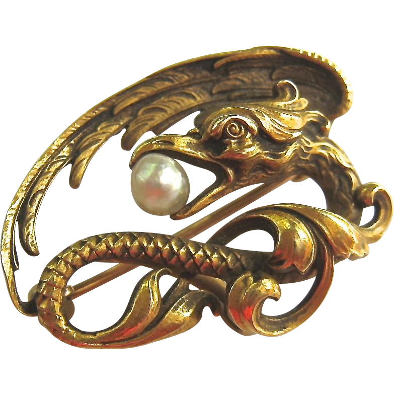 Exceptional 14K Gold Phoenix Or Dragon Pin Brooch Signed N