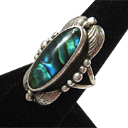 Sterling Silver 925 Ring Colorful Abalone Shell Large Presentation
