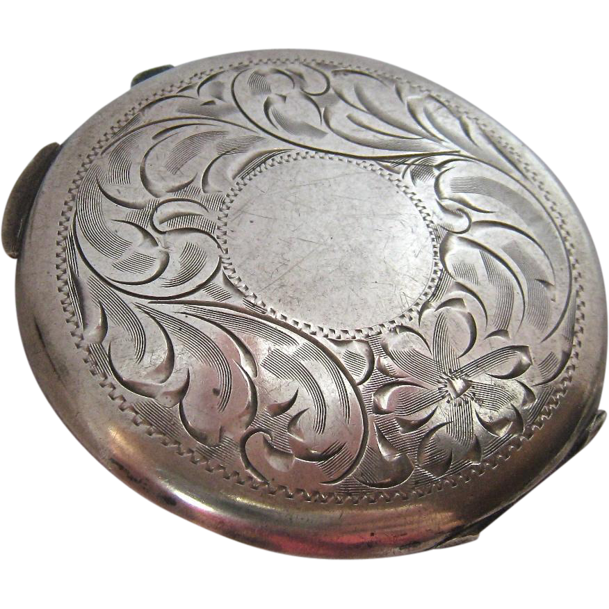 Birks Sterling Silver 925 Compact Floral Etched From
