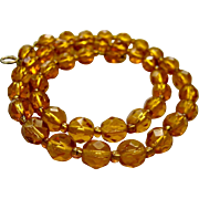 Vintage Faceted Amber Glass Bead Necklace