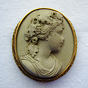 14K Gold Lava Cameo High Relief Bacchante Etruscan Revival Victorian (c. 1880)