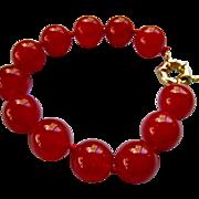 Cherry Red Jadeite Bracelet 14-15mm Diameter Beads Hand Knotted