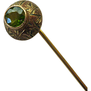 10K Gold Peridot Stick Pin