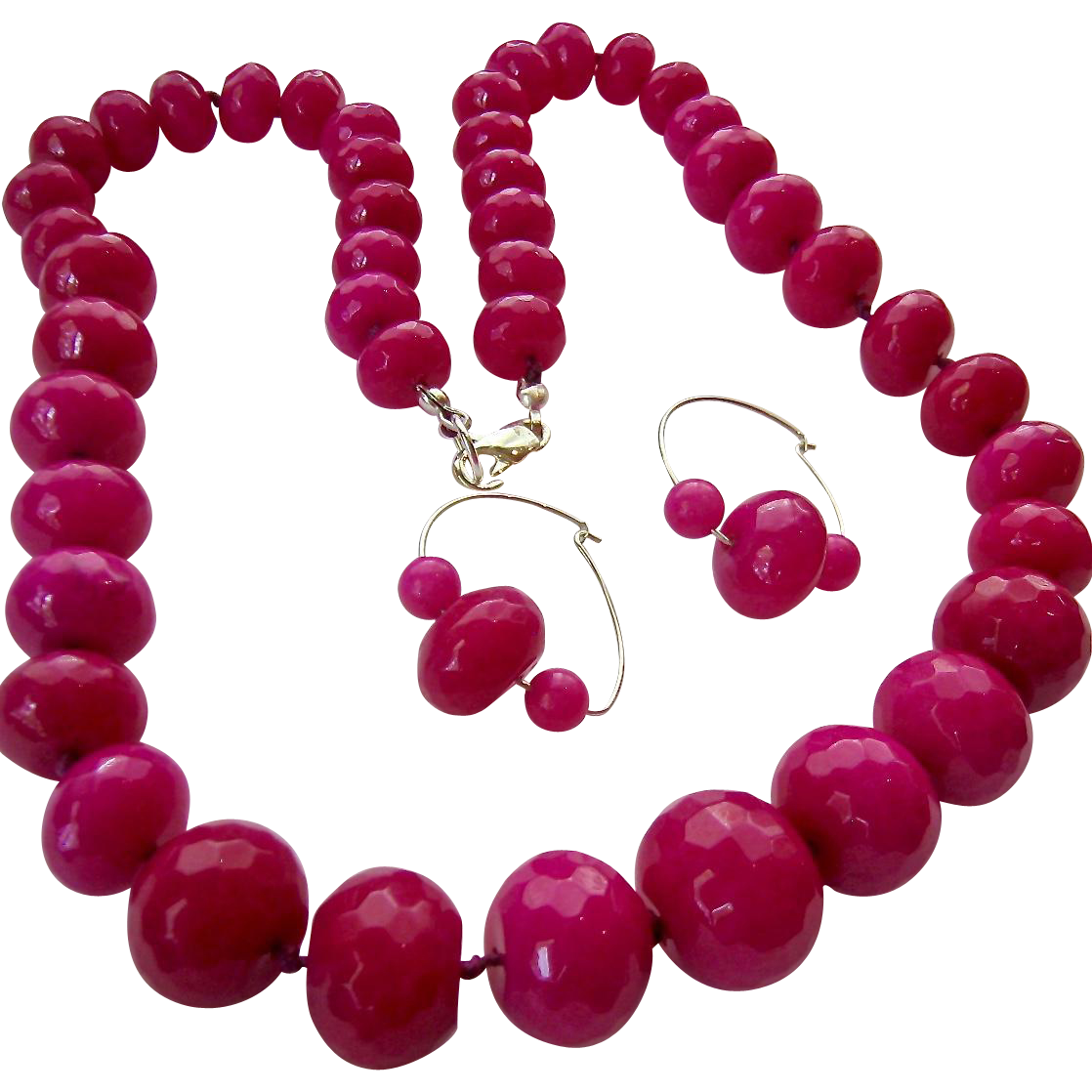 Large Faceted Fuchsia Gemstone Bead Necklace & Earring Set from susabellas on Ruby Lane