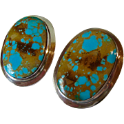 Large Sterling Silver 925 Turquoise Oval Post Earrings Signed Morningstar