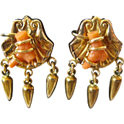 Victorian Wrapped Coral Gold Filled or Low Carat Dangle Screw Back Earrings