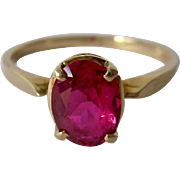 10K Ruby Solitaire Ring Likely Lab-Created