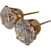 14K Gold CZ Post Earrings