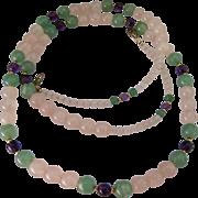 Multi-Color Quartz Gemstone Bead Necklace Filigree Clasp 30 Inches
