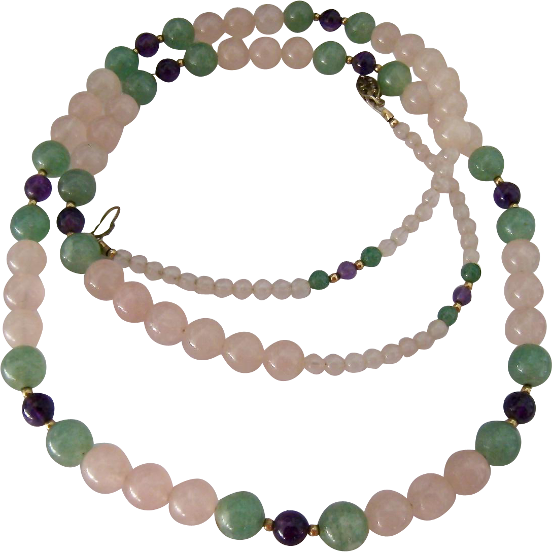 multicolor quartz gemstone bead necklace filigree clasp
