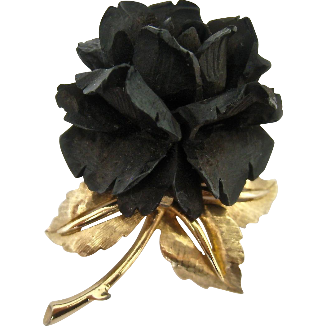 Boucher Black Flower Rose Pin Brooch Signed Numbered Mourning from susabellas