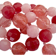 Shades of Pink Fuchsia Faceted Gemstone & Glass Bead Necklace Hand Knotted