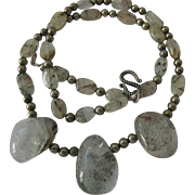 Clear Quartz Gemstone Necklace with Sterling Clasp