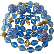 Blue Art Glass Necklace Hand Knotted