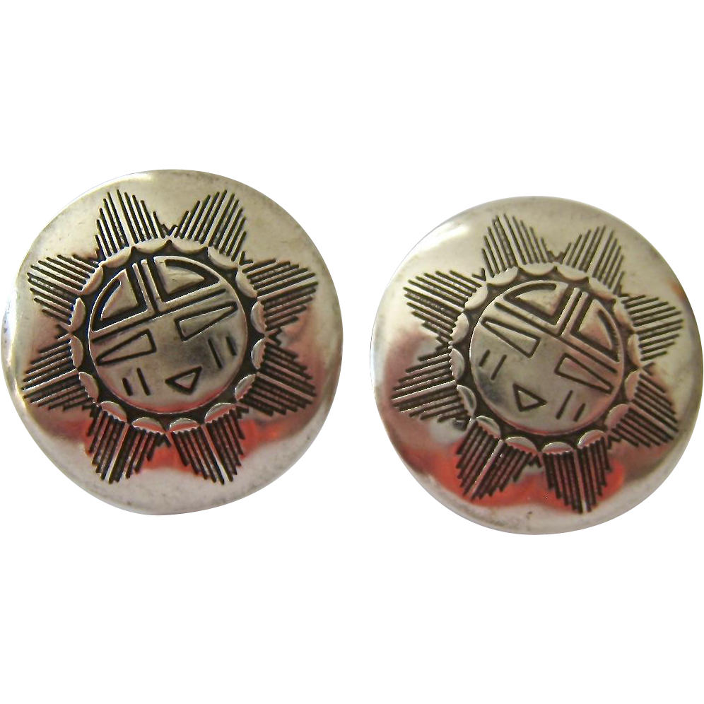 Furniture Store Sterling Va Sterling Silver 925 Round Post Earrings Native American Design from ...