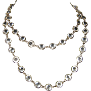 Two Strand Collet Set Clear Crystal Gold Tone Necklace